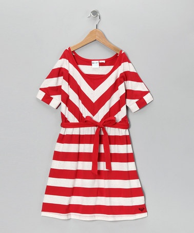 Take a look at this Red Stripe Pumpkin Seed Dress - Girls by Roxy on #zulily today!
