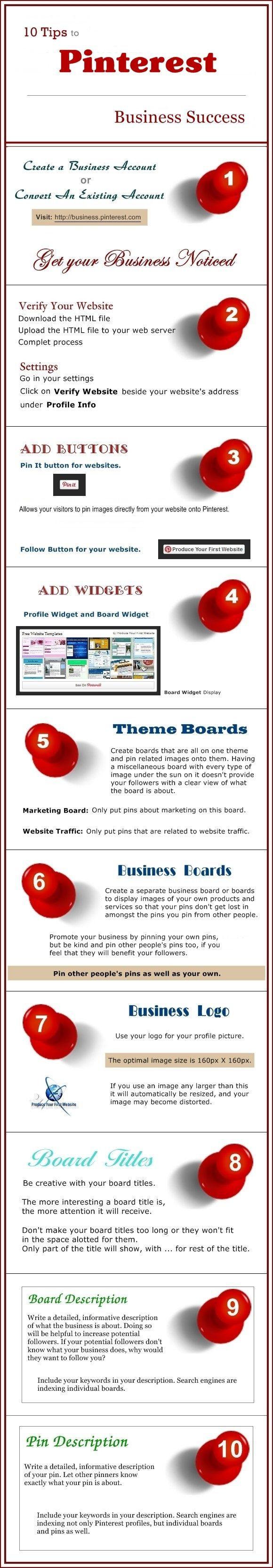 10 Tips To Pinterest Business Success #infographic #Marketing #Pinterest