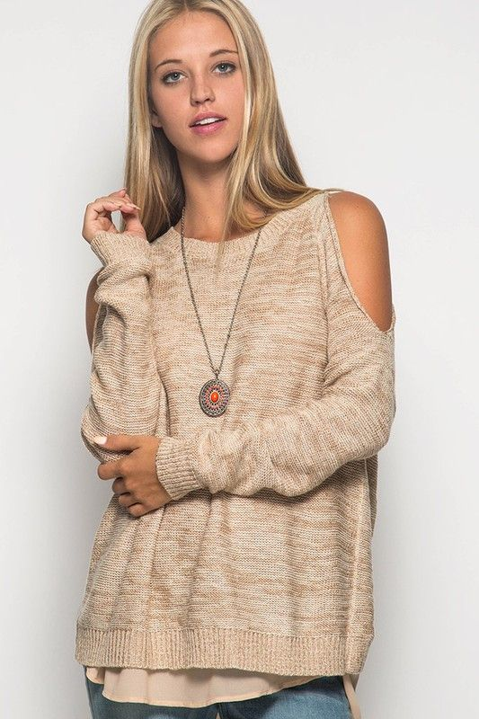Erin Cold Shoulder Chiffon Back Sweater – ROUTE 32
