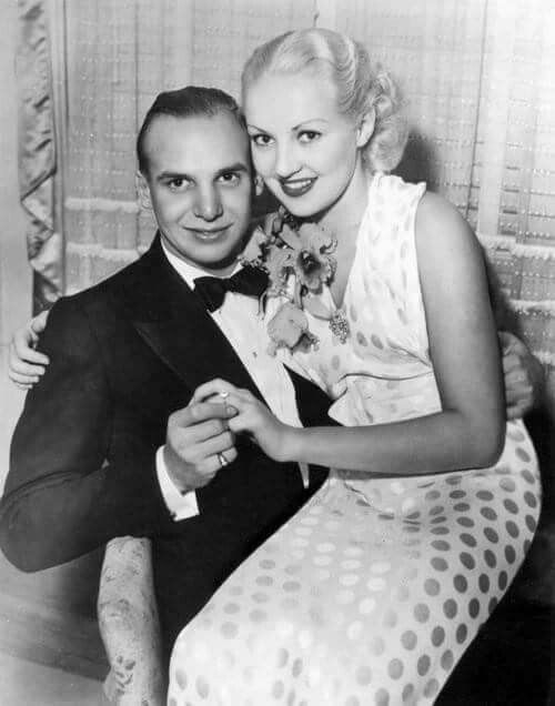 Jackie Coogan and Betty Grable. Engagement picture 1936. Married 1937-9. He would go on to play Uncle Fester in famed The Addams Family TV show