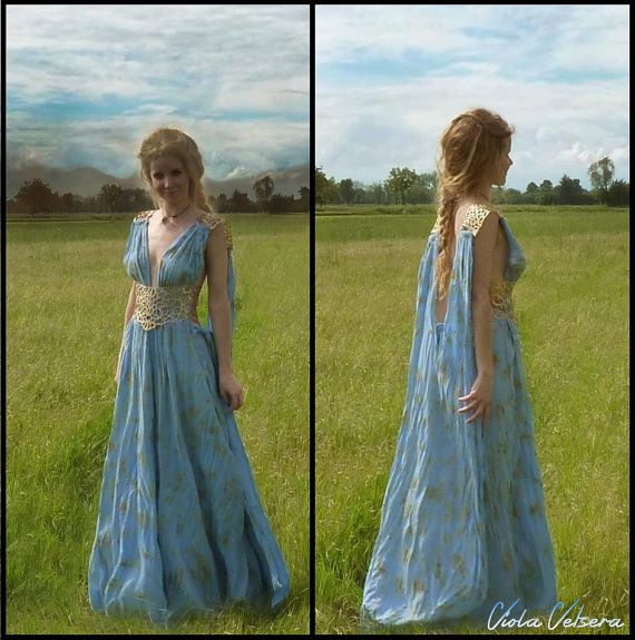 Game of Thrones -  Daenerys Qarth Blue Dress with Belt included - Khaleesi Gown Cosplay Sale