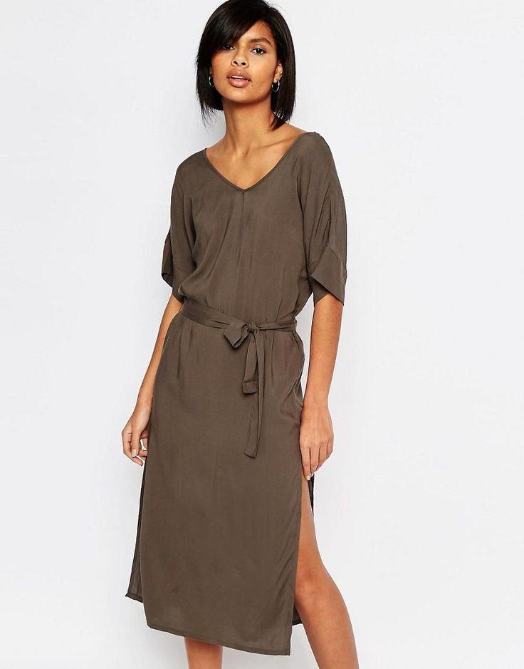 Vero Moda | Vero Moda V Neck Tie Waist Midi Dress at ASOS