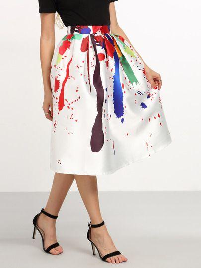 Jupe plissée imprimée - multicolore -French SheIn(Sheinside)