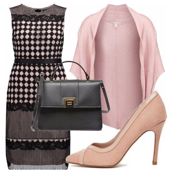 Questo splendido vestitino è adatto per occasioni speciali sia in primavera che in estate. Io l'ho abbinato ad un coprispalla e scarpe rosa e borsetta nera.