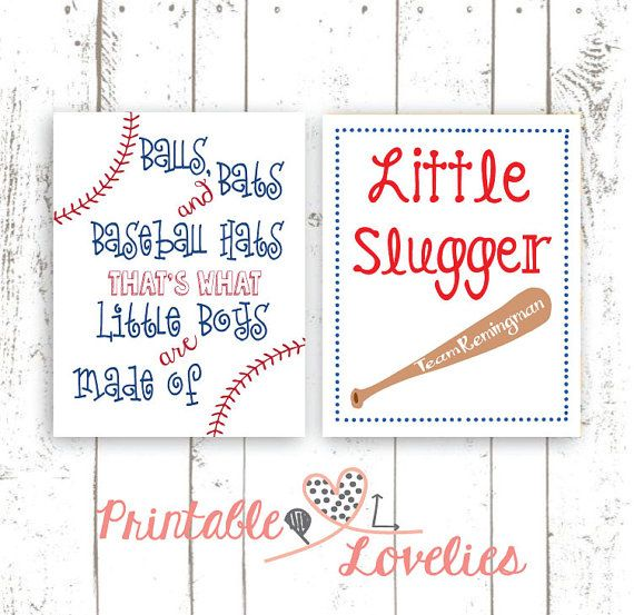 Baseball Themed Nursery Prints. Little Slugger Print. That's What Little Boys Are Made Of Print… by PrintableLovelies at Etsy.