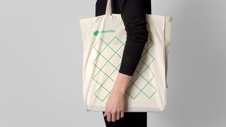 Brand identity and branded tote bag for Alta Quartzite mining and sales business Altaskifer designed by Neue, Norway