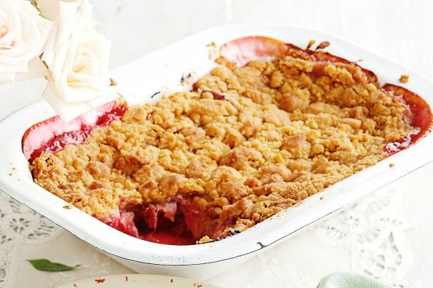 Create the perfect winter dessert with this Apple and rhubarb crumble.