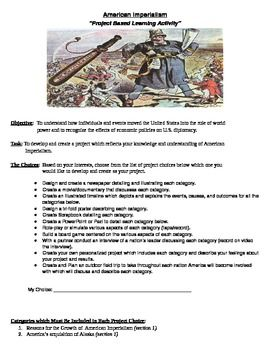 American Imperialism Project Based Learning Assignment - Students are assigned the concept of developing a project (from a provided list of 11 choices) to display their knowledge and understanding of American Imperialism...