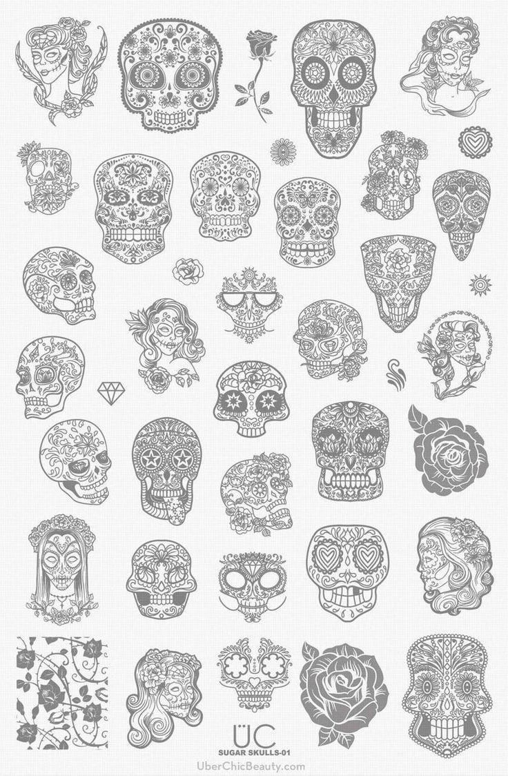 Sugar Skulls-01 - UberChic Nail Stamp Plates