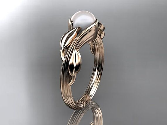 Gorgeous!! 14kt  rose gold  pearl leaf and vine  wedding ring,engagement ring ADLR273 on Etsy, $675.00