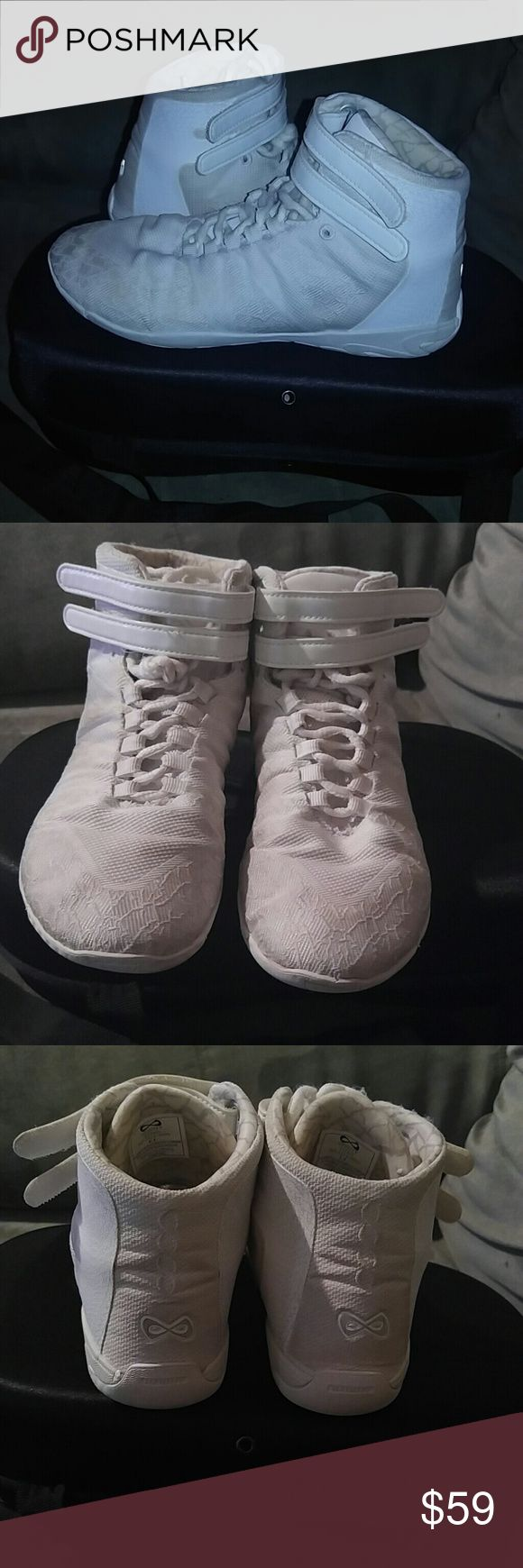Nfinity Titan High Top Cheer shoes Good condition, has mild darkening in various places. Can be cleaned to look perfect. Comes with black Nfinity Titan Case. Size 5.5 nfinity Shoes Athletic Shoes