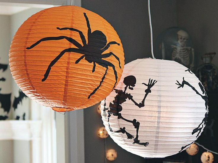 halloween paper decoration idea using paper lanterns use halloween colors such as white and orange - Halloween Decorations Paper