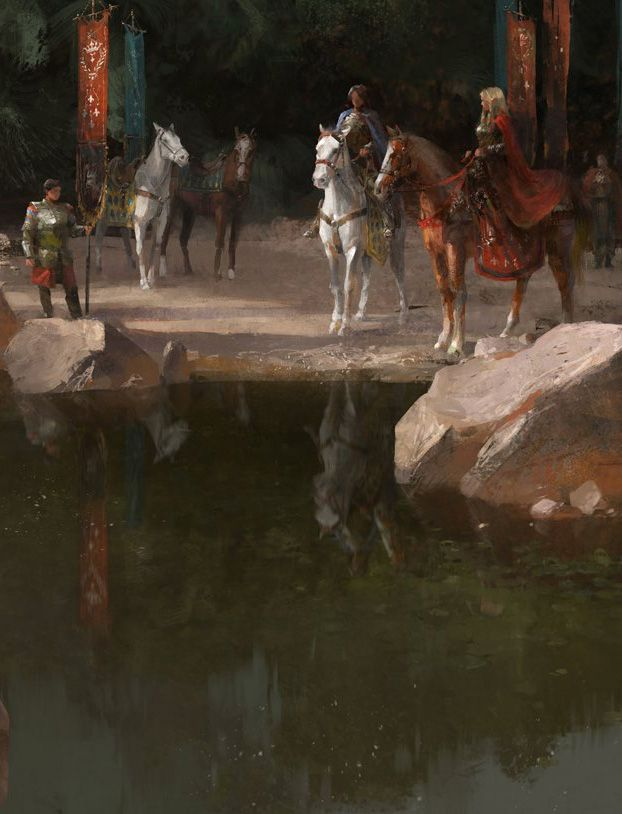Fantasy Art Engine | Trio, Horses, Escort and River by Sean Silvestre