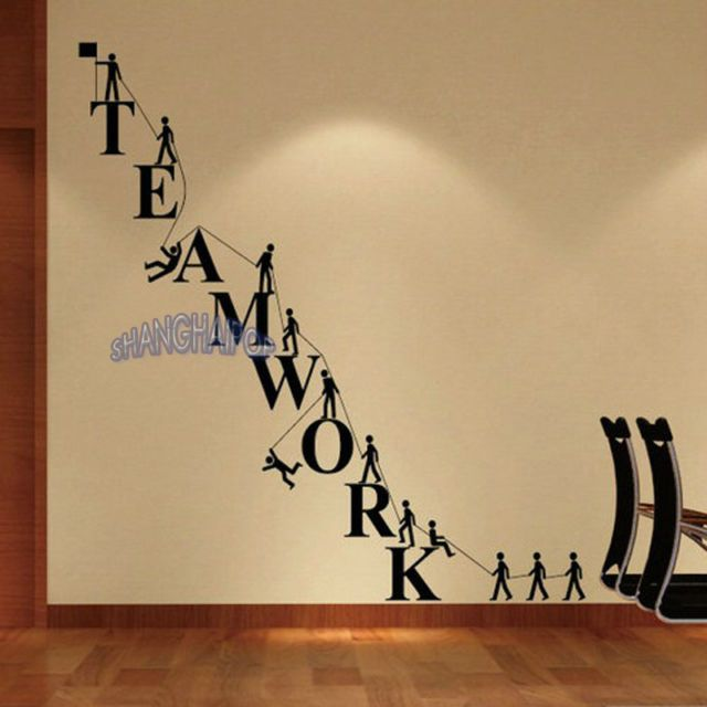 Teamwork removable letters wall sticker office decor for Party wall act letter to neighbour