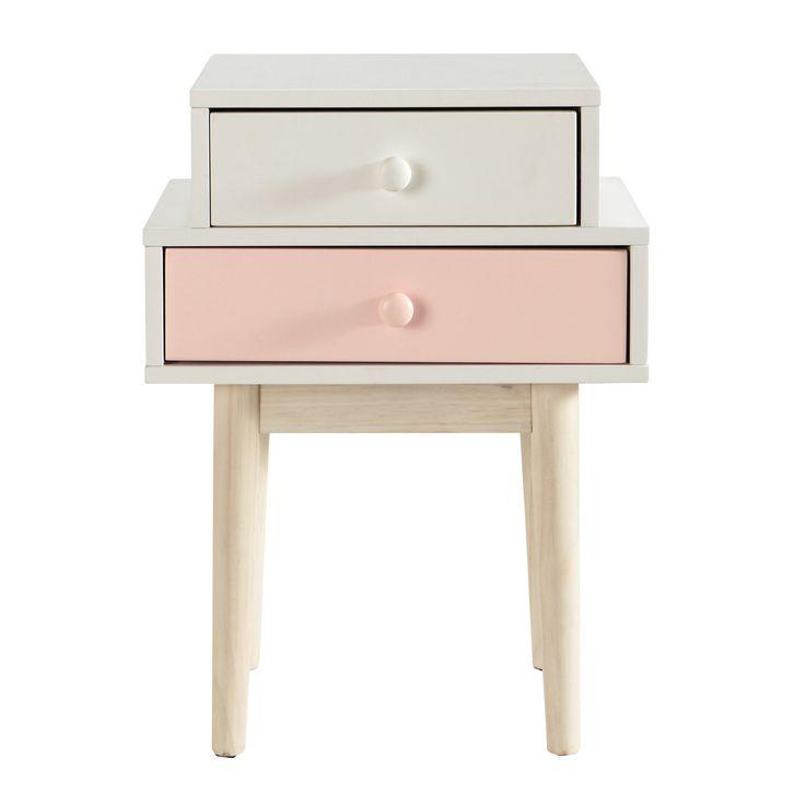 Nachttisch aus Holz, B 42 cm, weiß Blush