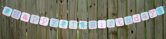 Birdie Bird Theme Birthday Banner by SouthernGalPapers on Etsy, $28.00