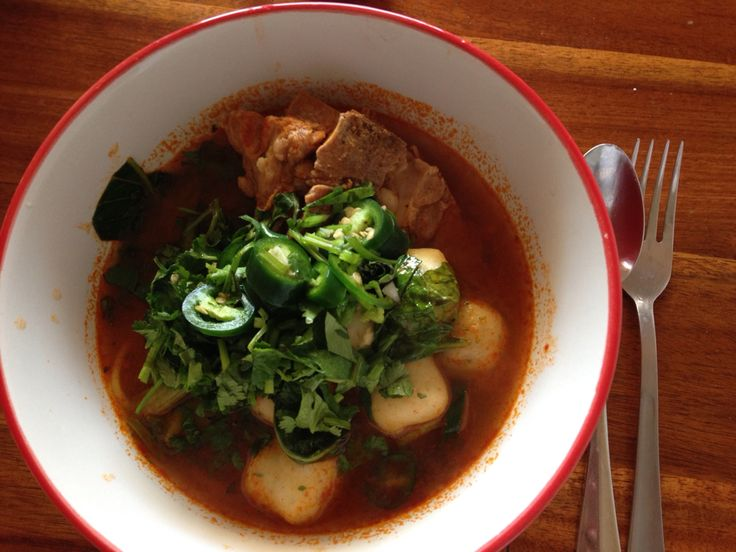 Tom yum pork bone noodles soup with fishballs