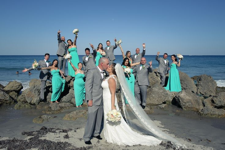seaside happiness! This beach wedding - turquoise blue green sea glass bridesmaid dresses