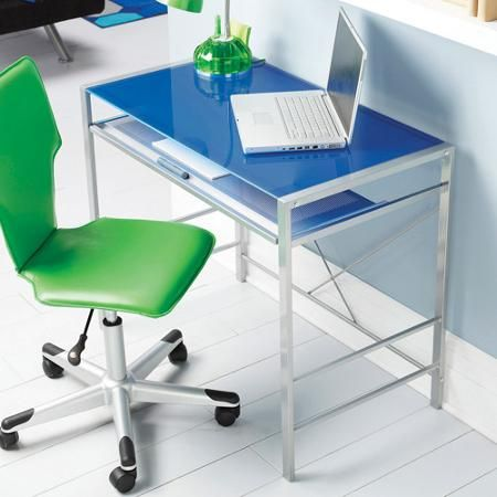 mainstays glasstop desk computer office furniture home corner modern work