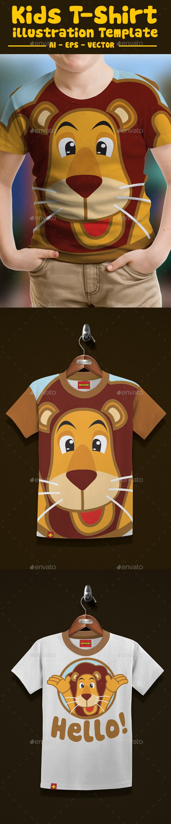 Lion Kids #T-Shirt #Design - Funny Designs Download here: https://graphicriver.net/item/lion-kids-tshirt-design/12934360?ref=alena994