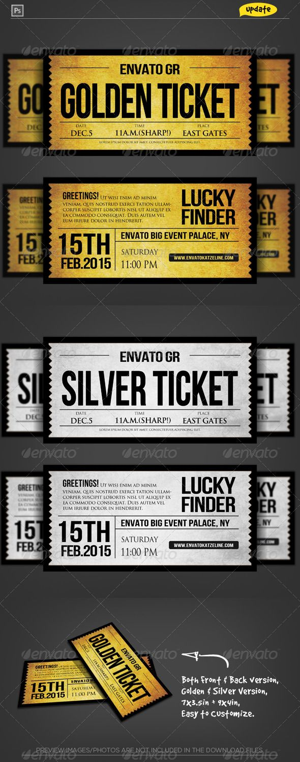 business event invitation templates%0A Golden Silver Ticket Corporate Invitation II