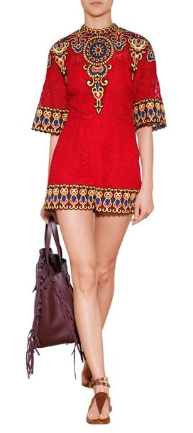 VALENTINO Embroidered Lace Playsuit