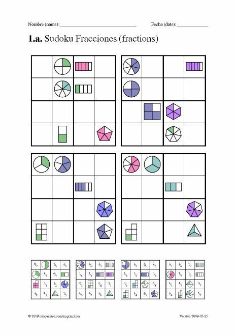 Sudoku, Juego con Fracciones