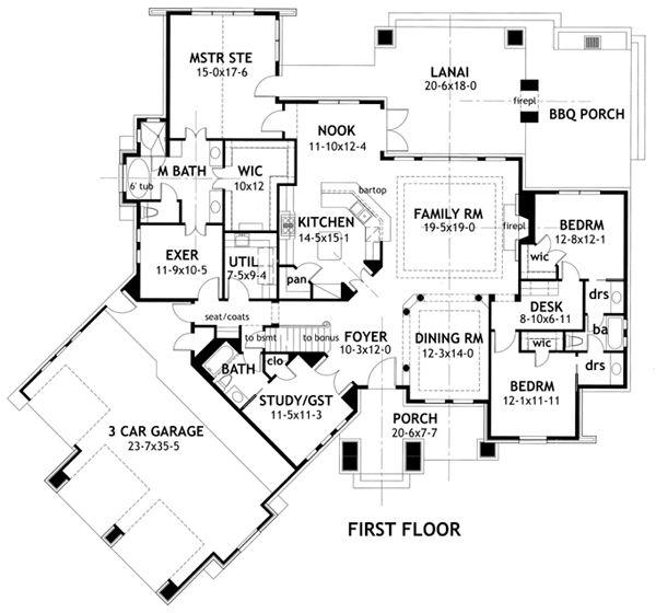 First Floor Plan of Cottage   Country   Craftsman   European   Hillside   Ranch   House Plan 65869