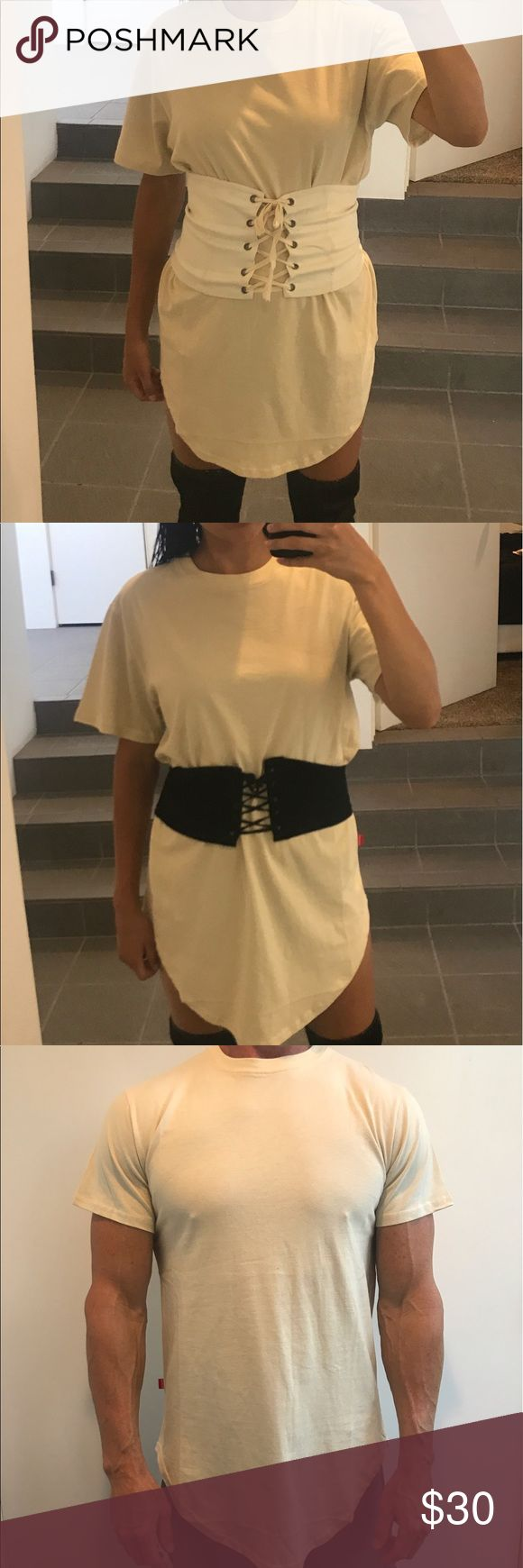 Unisex nude t-shirt Unisex size L fits men great as well as fits a women for a t-shirt dress goes great with thigh high boots and waist band Tops Tees - Short Sleeve