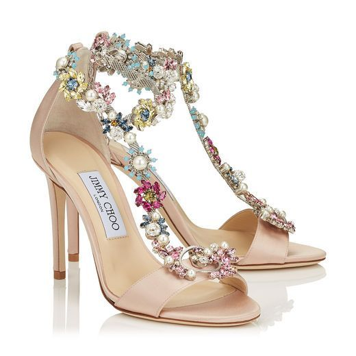 REIGN 100 Dusty Rose Satin Sandals with Camellia Mix Anklet https://www.loveandlavender.com/2017/03/jimmy-choo-wedding-shoes/