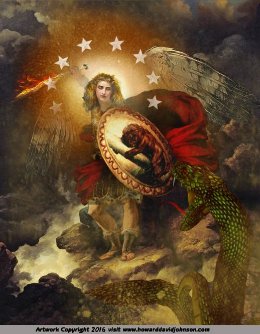 Angel Art and a brief introduction to Angelology; New Pictures of Angels by Howard David Johnson featuring oil paintings, prismacolors and digital media.