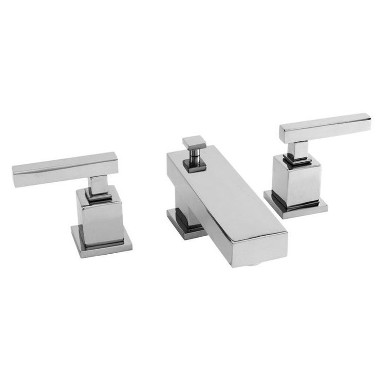 Newport Brass 2020 Cube 2 Double Handle Widspread Lavatory Faucet with Metal Lev Polished Chrome Faucet Lavatory Double Handle