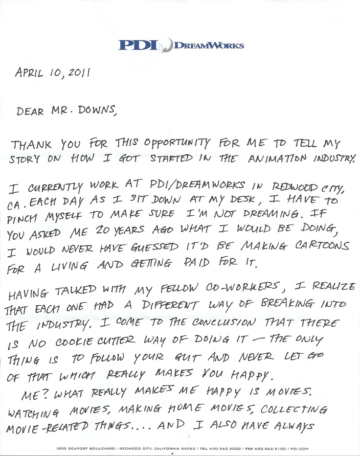 Encouraging letter (pg 1 of 3) written by Jeff Joe, supervising - letter of intent for a job