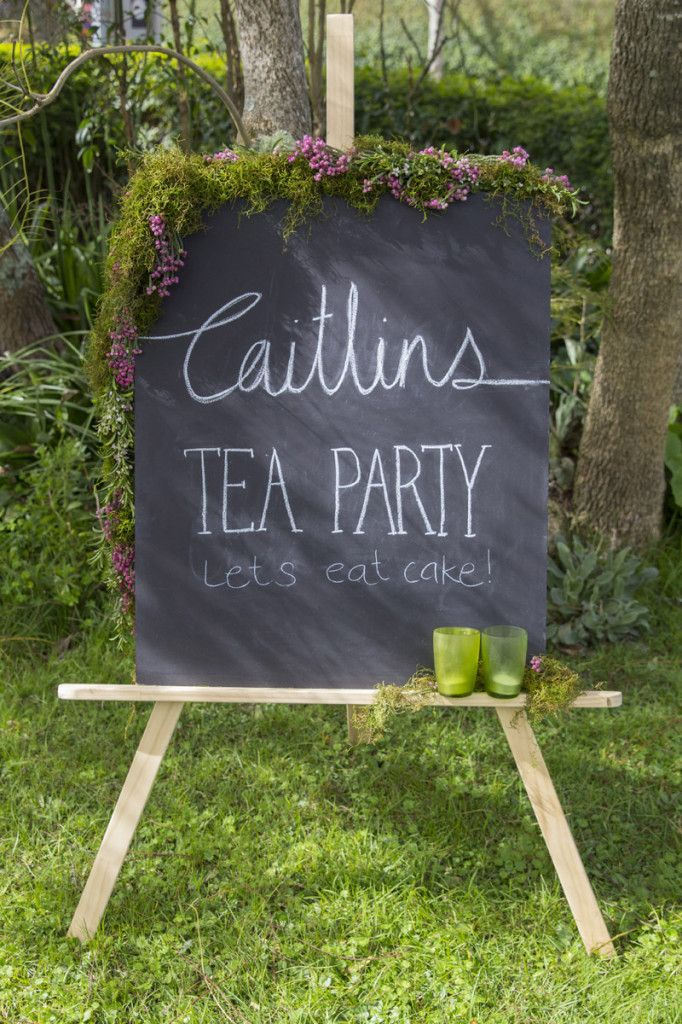 All The Frills Tea Party Photography by @Sheila -- Eckles Gordon Photography. Garden party chalkboard sign