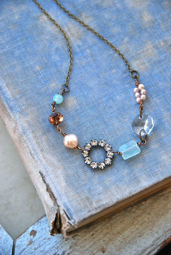 Romantic gemstone necklacerhinestone and pearl by tiedupmemories