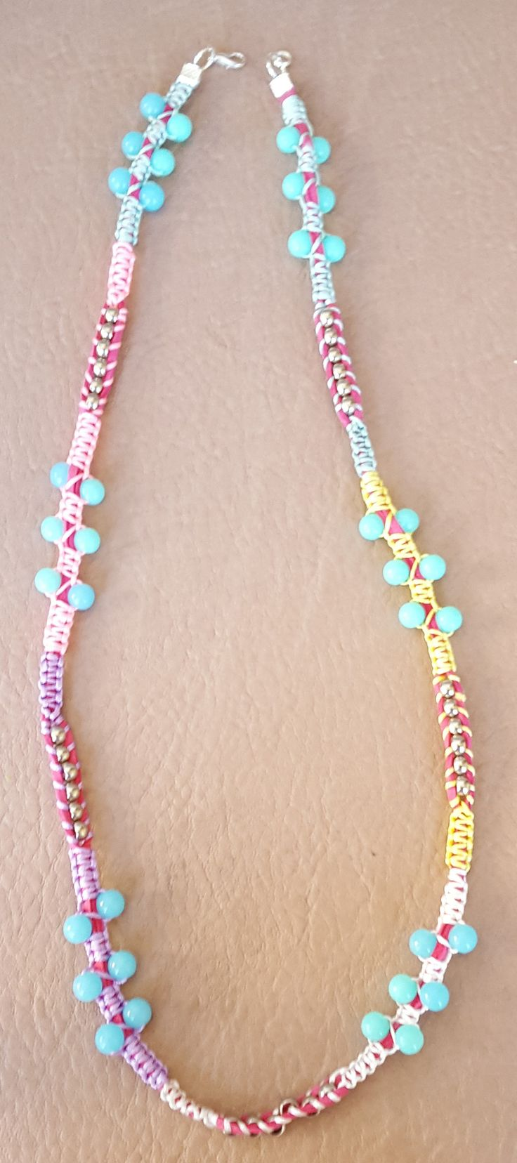 Multi Coloured Macrame Necklace in Pastel Shades with Blue/Turquoise and Silver Beads by KalaaStudio on Etsy