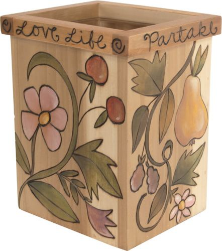 Utensil Box/ Flower Vase with glass protective liner