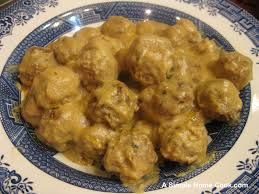 Swedish Meatball Gravy - 2 cans Cream of Mushroom soup, 1 cup sour cream, 1 tsp Worcestershire sauce, 1/4 cup milk.  Combine ingredients in slow cooker.  Add homemade or frozen meatballs.  Set to warm.