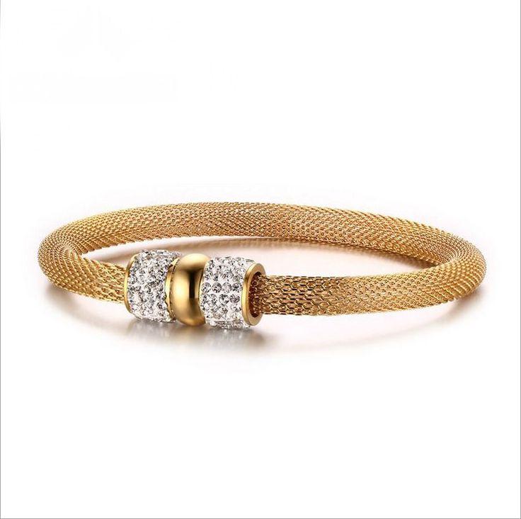 Fashion Men's White Rhinestones Gold Titanium Steel Mesh Chain Bracelet Gift