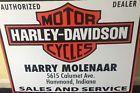 """VINTAGE NOS RARE HARLEY DAVIDSON MOTORCYCLE DEALER 30"""" METAL GASOLINE & OIL SIGN"""