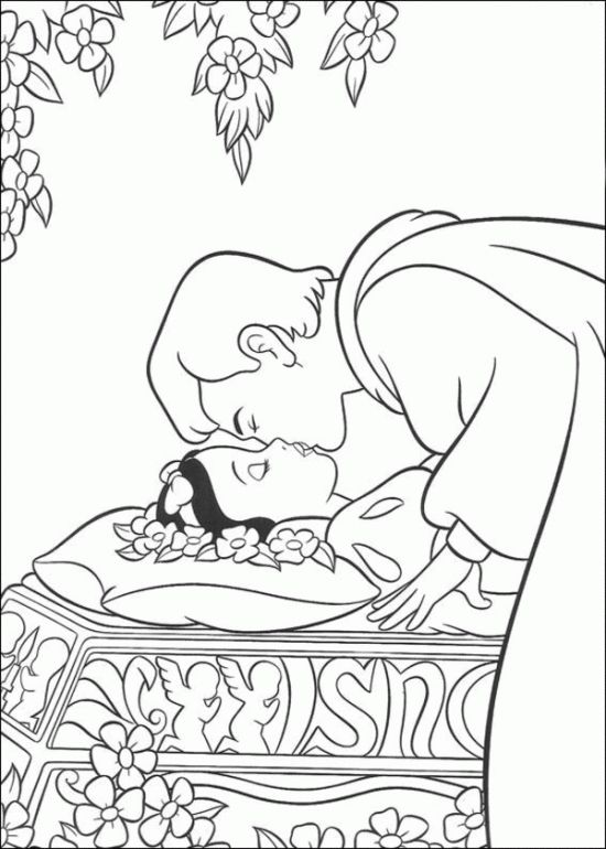 Prince Kissed the Princess Snow White Coloring Pages