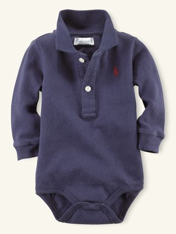 Polo Mesh Bodysuit - Layette One-Pieces - RalphLauren.com. Looks warm &comfy