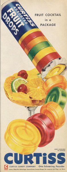 Retro Candy Ad 1950s Curtis Candy Company Fruit by AdVintageCom