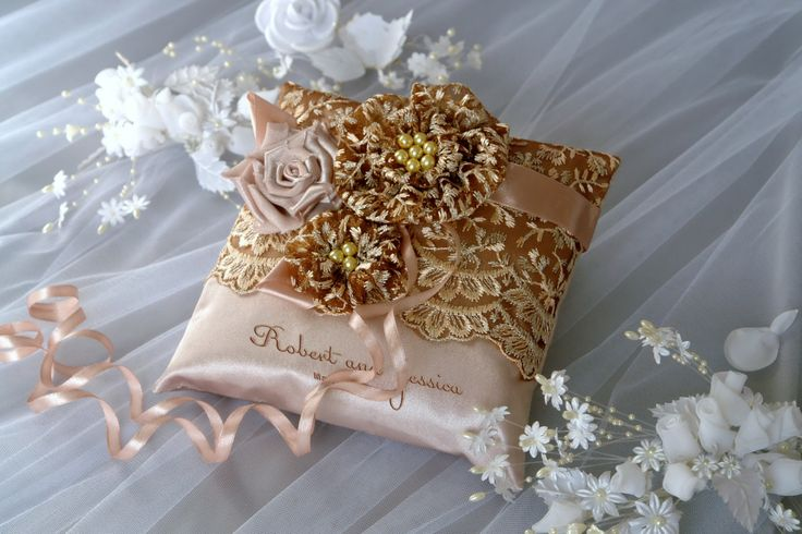 Iced Coffee Wedding Ring Pillow / Lace Pale Brown Wedding Pillow / Ring Bearer Pillow Embroidery Names / Lace Pillow / Custom colors (32.00 USD) by DreamWeddingg