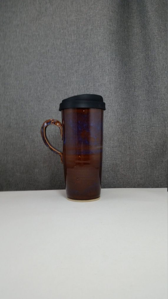 IN STOCK Pottery Travel mug / Commuter mug with by 3PointsArtwork