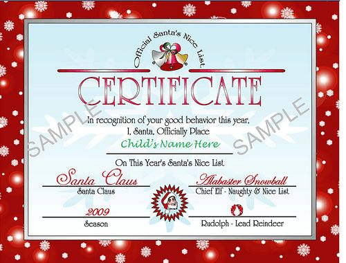 Santa's Nice List Certificate - Bet I could recreate something similar to this