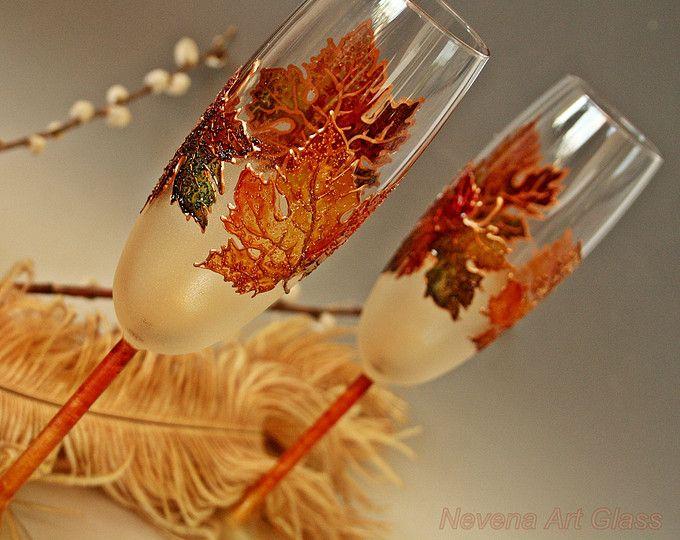 Otoño boda copas, copas de Champagne, otoño boda, gafas de hojas de arce, mano pintada conjunto de 2