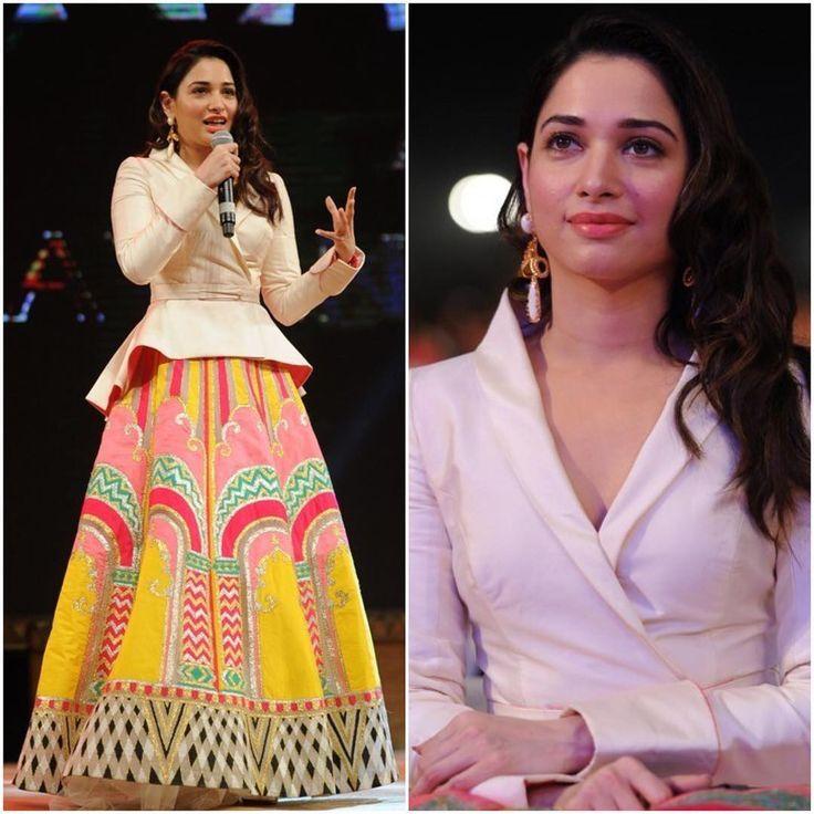 "Tamannaah Bhatia Outfit - @abujanisandeepkhosla  Earrings - @outhousejewellery Styled by -…"""