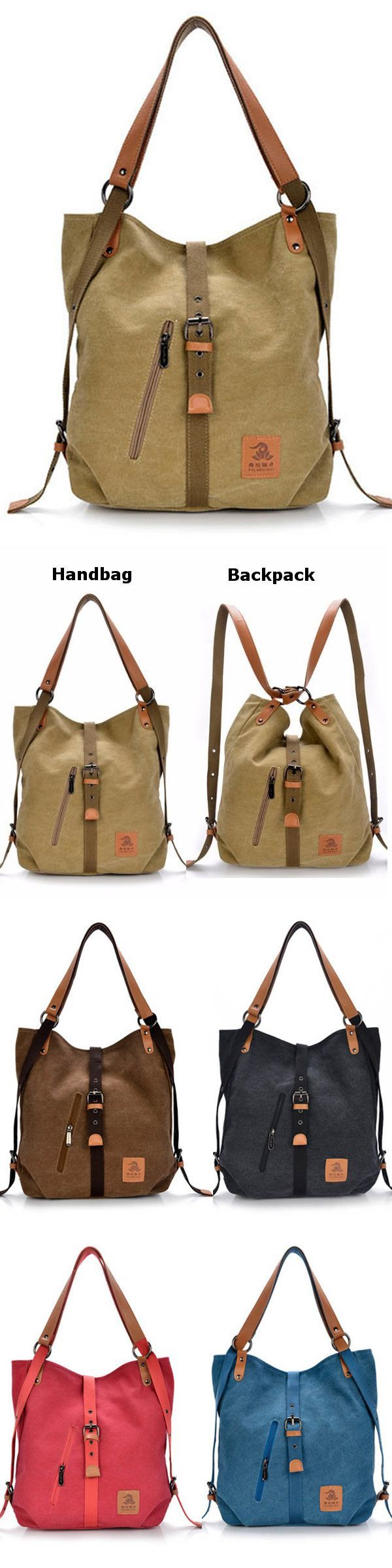 US$28.66  Women Canvas Casual Multifunctional Microfiber Leather Large Capacity Handbag Shoulder Bags Backpack