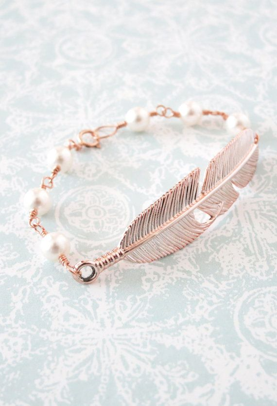 Rose Gold Feather Bracelet - Swarovski pearl beaded, rose gold filled chain, gifts for her, garden, bird feather, everyday pretty